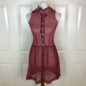 ANTHROPOLOGIE Lux Sleeveless Sheer Polka Dot Dress